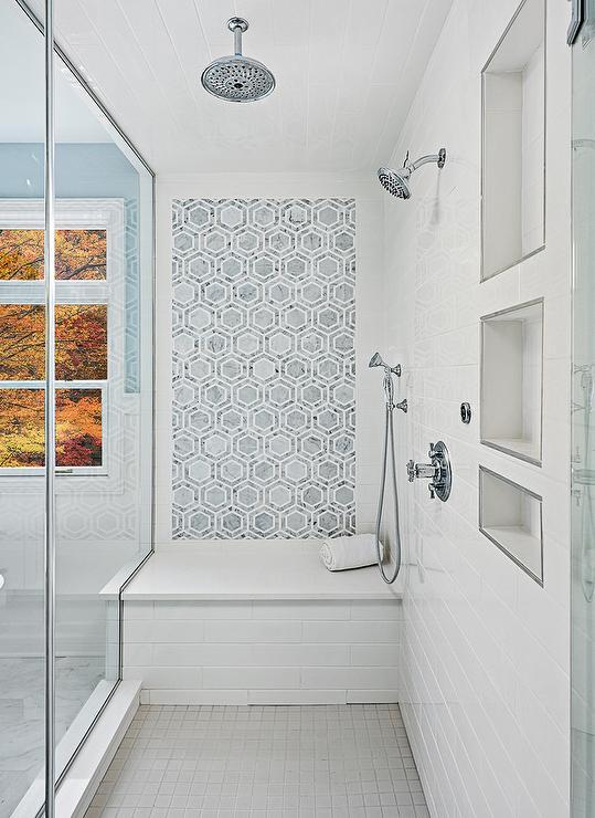 Gray Marble Hex Shower Tiles Over White Quartz Bench Transitional Bathroom