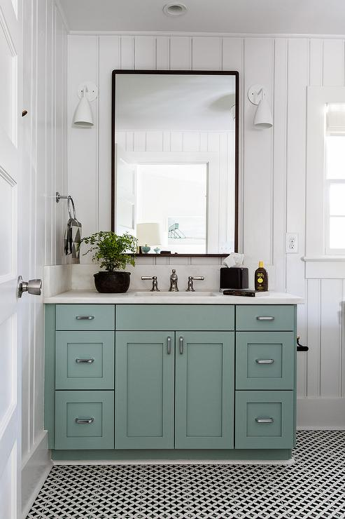 Blue Green Bath Vanity With Black Mirror Transitional Bathroom