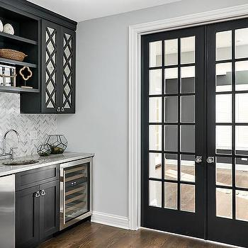 Black Metal And Glass Pantry Doors Design Ideas