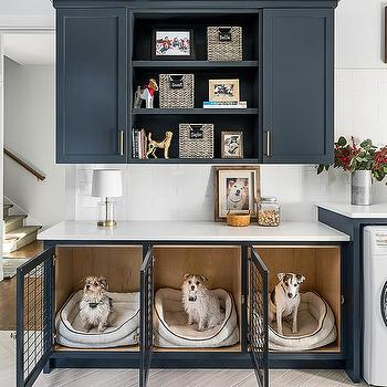 Dark Blue Laundry Room Cabinets With Built In Dog Crates