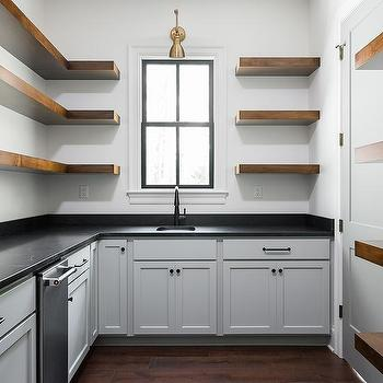 Gray Kitchen Floor With White Cabinets