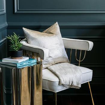 Light Gray And Gold Bedroom Accent Chair Design Ideas