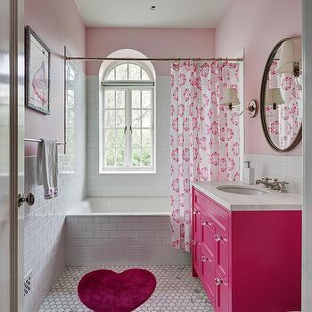 White and pink girl bathroom with pink hermes hand towel for Roberts designs bathroom accessories
