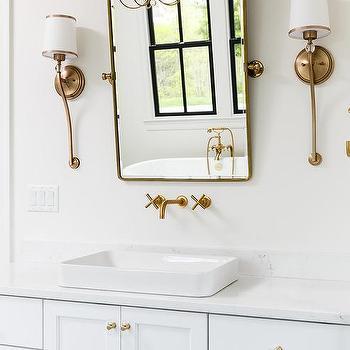 Rectangular Brass Pivot Bathroom Mirrors Design Ideas