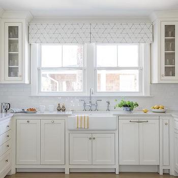 White And Gray Pleated Kitchen Valances Design Ideas