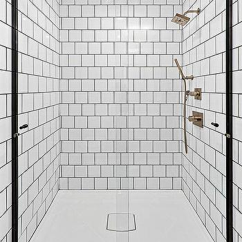 White Square Staggered Shower Tiles Design Ideas - White square tile bathroom