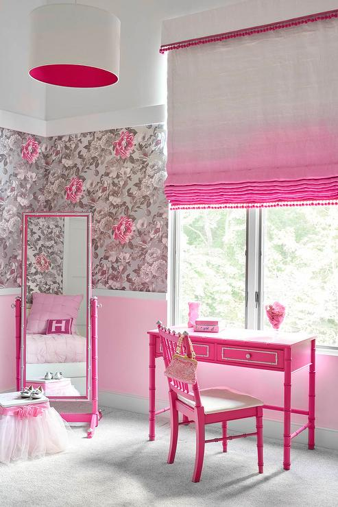 Hot Pink Bamboo Desk with Pink Ombre Roman Shade - Transitional ...