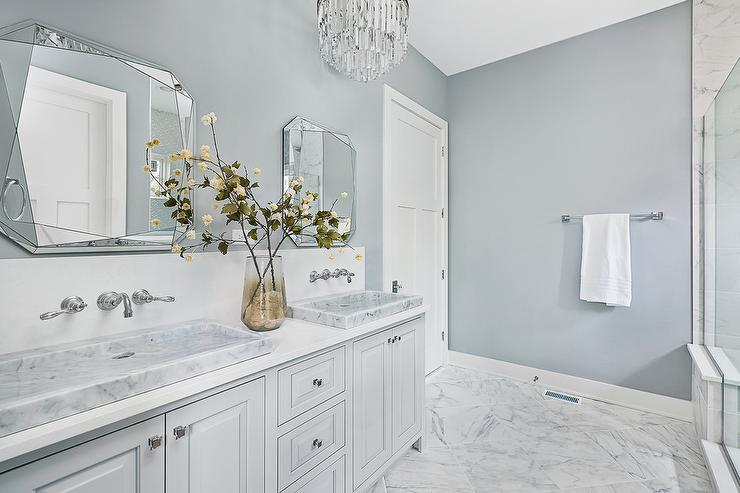 stunning Gray Bathroom Colors Part - 3: White and Gray Master Bathroom Colors