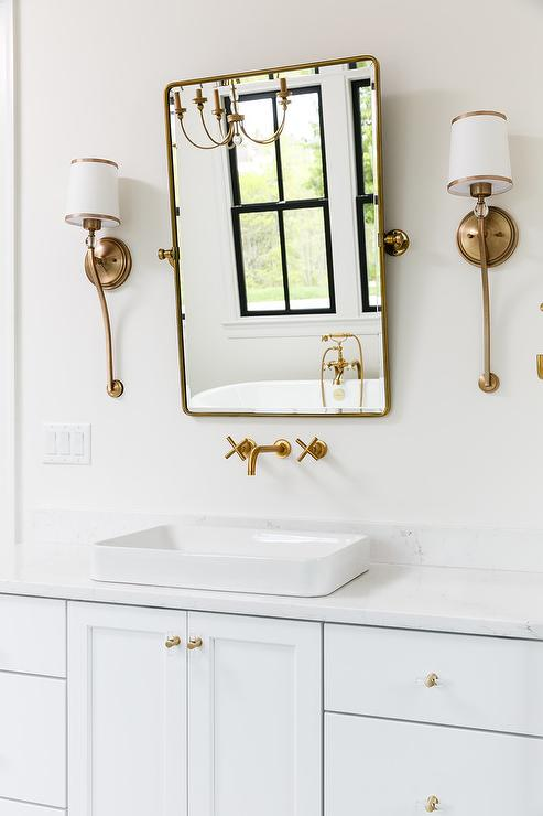 Navy Blue Bath Vanity With Antique Brass Vintage Faucet