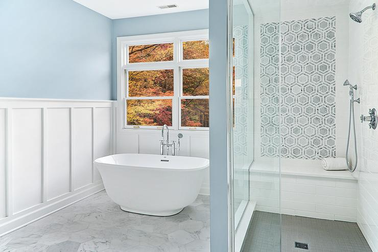Blue Master Bathroom with Board and Batten Walls - Transitional ...