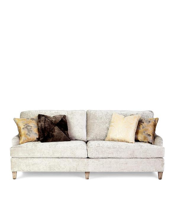 Venezio White Velvet Wood Legs Sofa