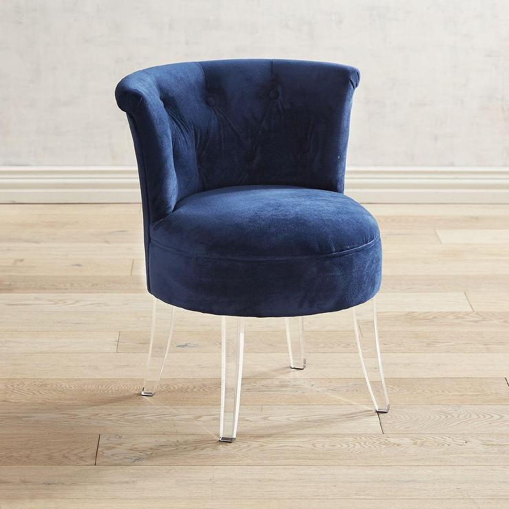 Carrie Blue Velvet Tufted Acrylic Vanity Stool