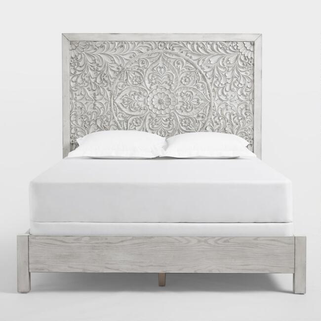 White Wash Tienerbed.Verena Gray Carved Floral Medallion Wood Bed