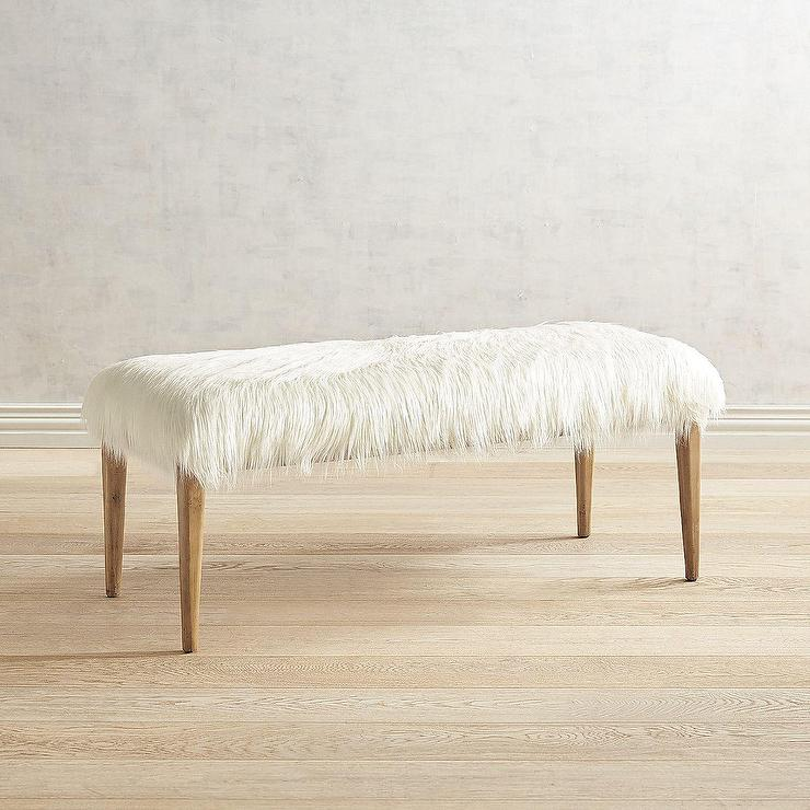 Astonishing Kate White Faux Fur Birch Wood Bench Squirreltailoven Fun Painted Chair Ideas Images Squirreltailovenorg