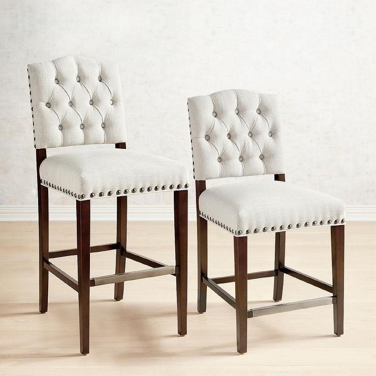 Swell Jayden Flax Tufted Nailhead Counter Stools Uwap Interior Chair Design Uwaporg