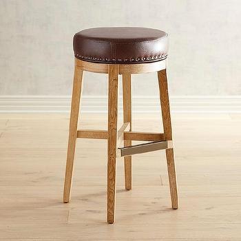 Brown Round Leather Brass Legs Adjustable Stool