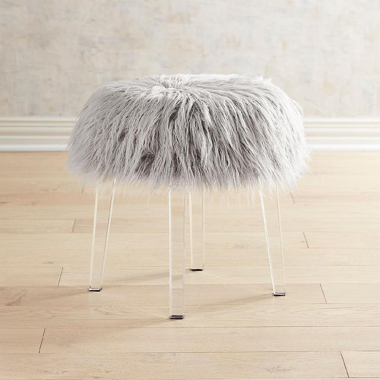 Fine Round Faux Fur Pink Acrylic Vanity Stool Pabps2019 Chair Design Images Pabps2019Com
