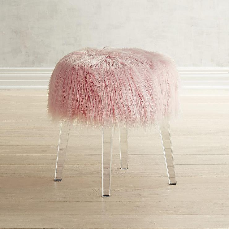 Round Faux Fur Pink Acrylic Vanity Stool