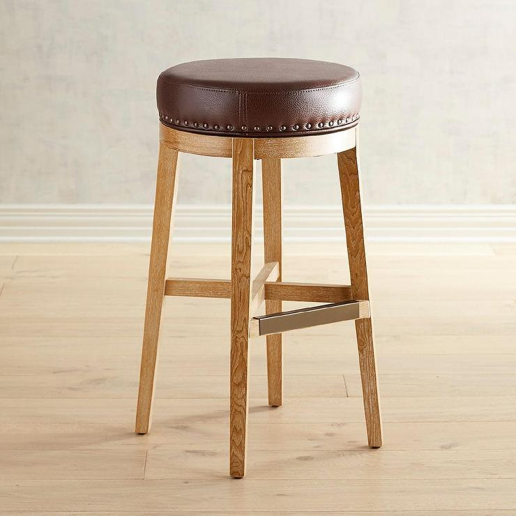 Prime Hudson Round Pecan Brown Leather Counter Stool Bralicious Painted Fabric Chair Ideas Braliciousco