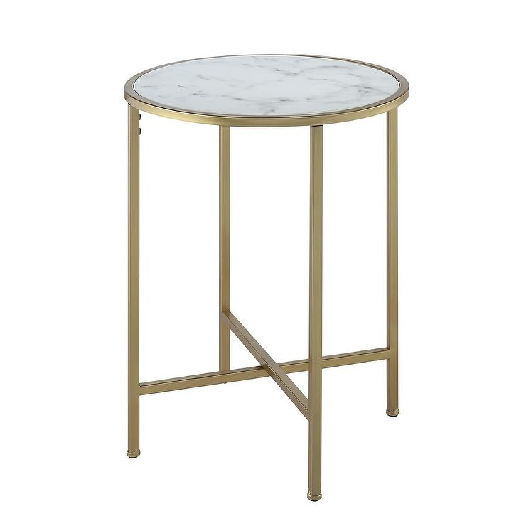 Coast Round Faux Marble Brass End Table - Marble and brass end table