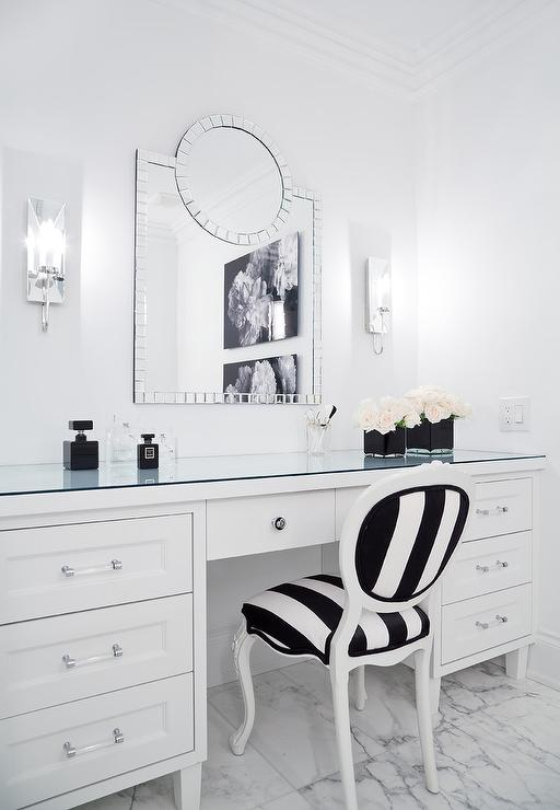 . Black and White Stripe French Vanity Chair   Modern   Bathroom