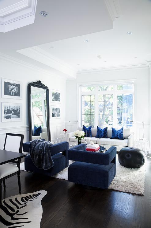Blue Velvet Chairs with White Sofa - Modern - Living Room