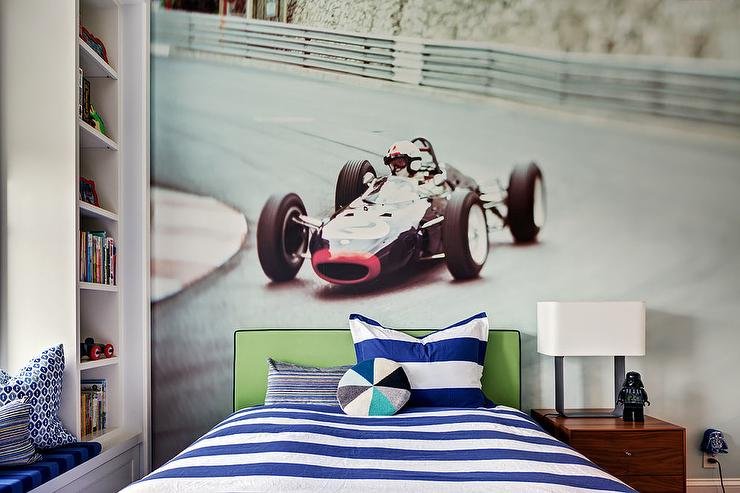 Vintage Race Car Mural Behind Lime Green Headboard Transitional
