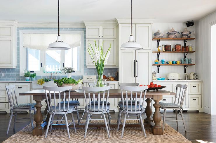 gray dining chairs with brown table cottage kitchen