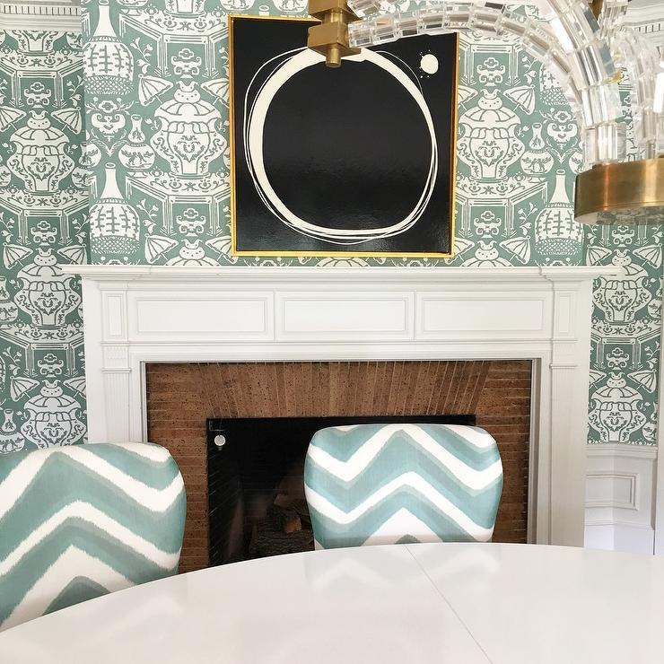 Teal Clarence House The Vase Wallpaper