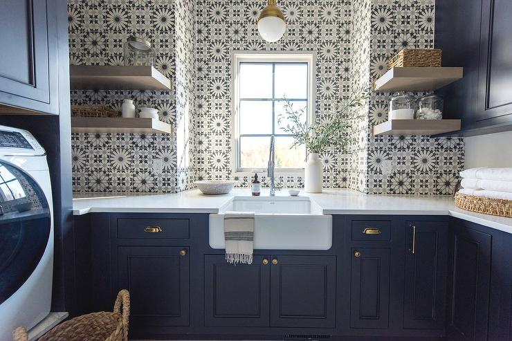 Gray Laundry Room With Blue Mosaic Tile Backsplash