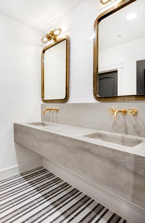 concrete floating dual sink vanity with