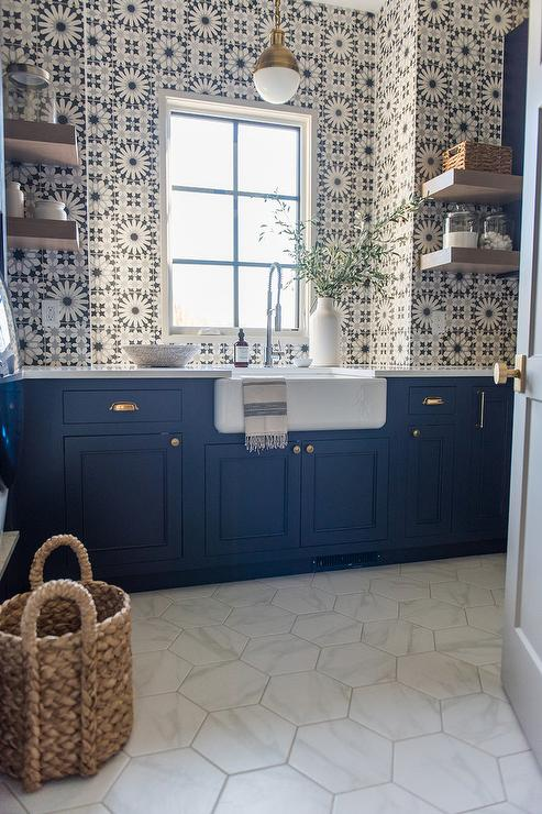 Navy Blue Laundry Cabinets With White Hex Floor Tiles