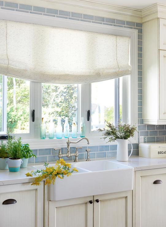 Blue Subway Tiles with Ivory Shaker Cabinets - Cottage - Kitchen