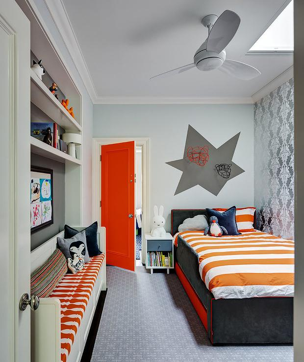 Plank kid bed with gray metal nightstand transitional for Bright orange bedroom ideas