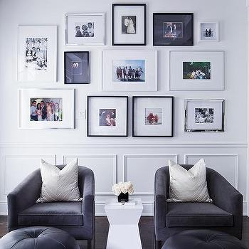 Black Velvet Club Chairs With Gray Chevron Pillows