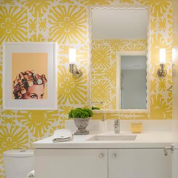 Yellow Powder Room Wallpaper With Curvy White Mirror