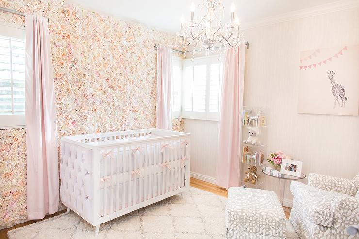 White And Pink Nursery With Gray Trellis Glider