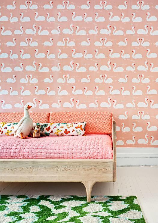 Swan Wallpaper With Oak Daybed Transitional Girls Room