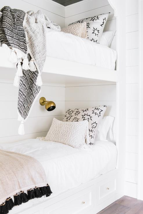 White Built In Bunk Beds With Tassel Bedding