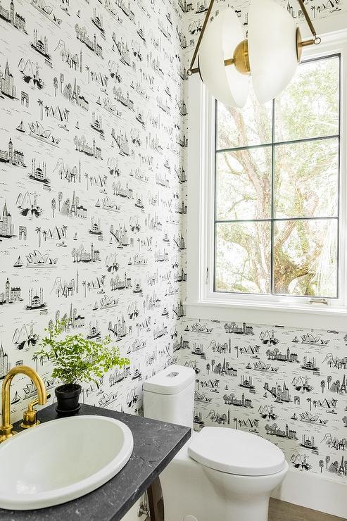 black toile wallpaper
