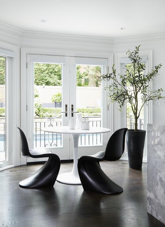 Black Panton Chairs With Ikea Docksta Table