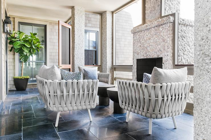 Light Gray Modern Sunroom Chairs with Pebbled Fireplace & Light Gray Modern Sunroom Chairs with Pebbled Fireplace ...