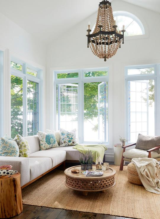 Wood Beaded Chandelier with Wood Frame Sectional - Cottage - Living Room