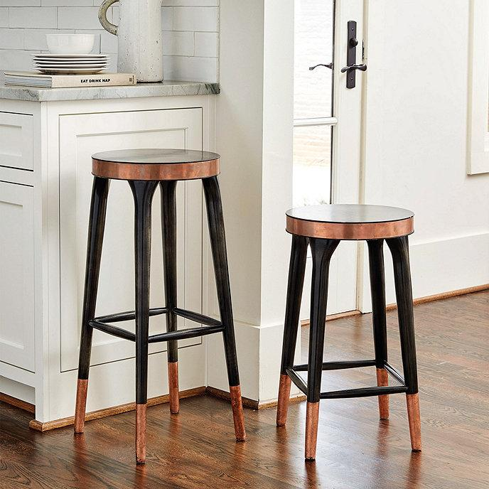 Astounding Melandri Copper Banded Black Stools Theyellowbook Wood Chair Design Ideas Theyellowbookinfo