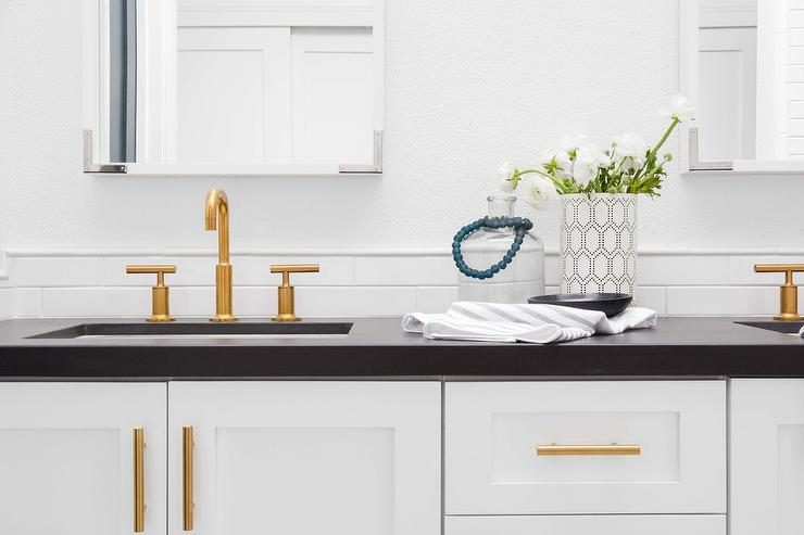 Gray Bathroom Vanity With Gold Campaign Hardware