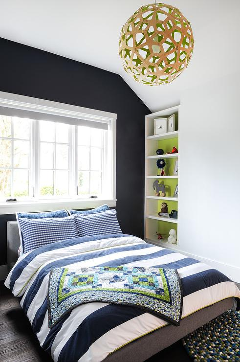 Interior Of White Bookcase Painted Green Transitional Bedroom