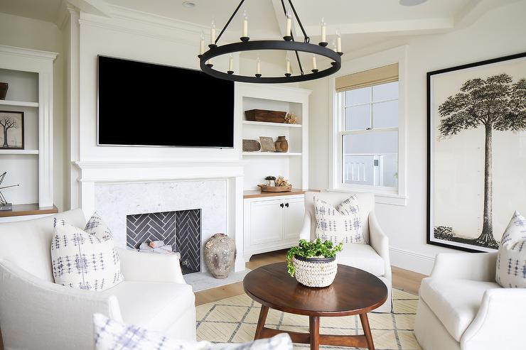 Iron Candelabra Chandelier Over 4 Accent Chairs - Transitional