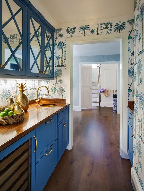 Blue Mirrored Pantry Cabinets With Blue Palm Tree