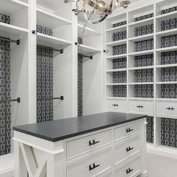 Gray Wallpaper Behind Closet Built Ins