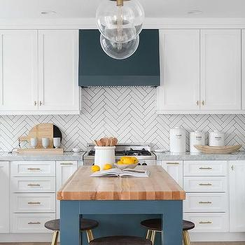 White And Green Kitchen With Blue Denim Backless Counter